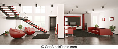 interno, panorama, appartamento, moderno, 3d