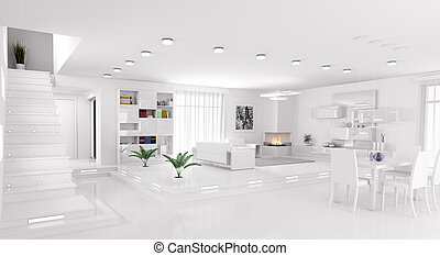 interno, panorama, appartamento, render, 3d