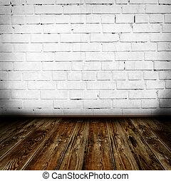 interno, parete, grunge, stanza