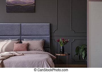 interno, pastello, sofisticato, camera letto
