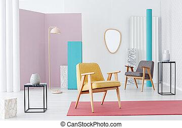 interno, pastello, soggiorno, retro