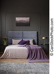 interno, pittura, spazioso, camera letto