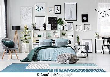 interno, poltrona, spazioso, camera letto