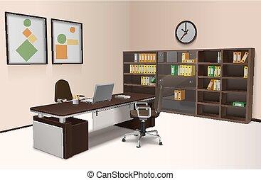 interno, realistico, ufficio