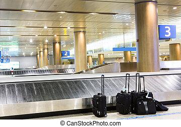 interno, reclamo, aeroporto, bagaglio, valigie