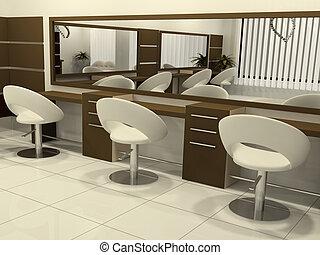 interno, salone capelli, prospettiva