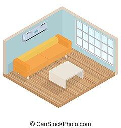 interno, salotto, isometrico, stanza