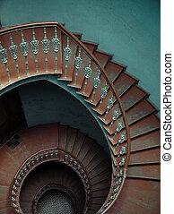 interno, scale, spirale, palazzo