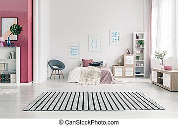 interno, scandinavo, disegno, camera letto