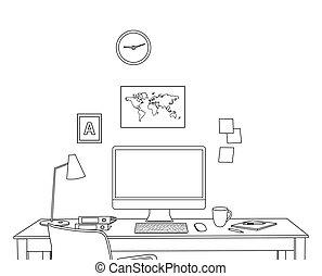 interno, schizzo, moderno, ufficio