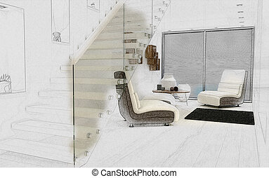interno, schizzo, stanza moderna, 3d
