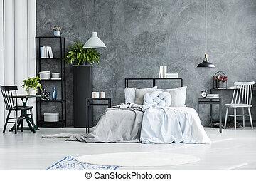 interno, sedia, spazioso, camera letto