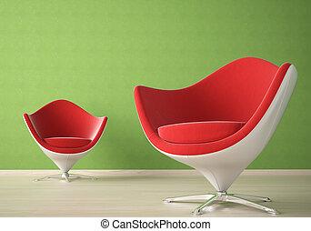interno, sedie, 2, disegno