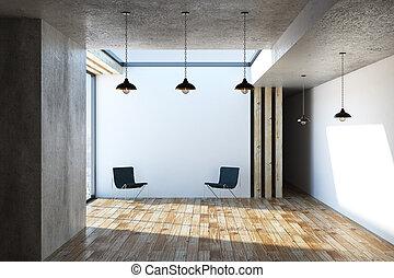 interno, sedie, lampade