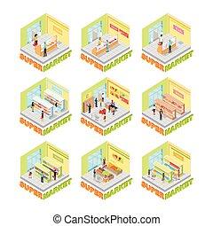 interno, set., vettore, isometrico, supermercato