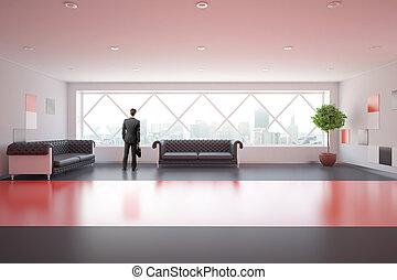 interno, sofà, moderno, rosso