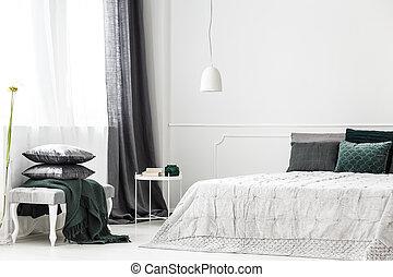 interno, sofisticato, argento, camera letto