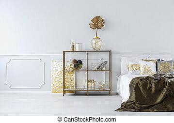 interno, sofisticato, oro, camera letto
