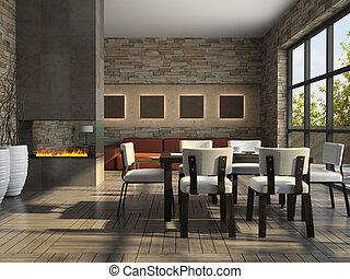 interno, soggiorno, caminetto