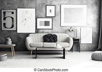 interno, soggiorno, confortevole, galleria