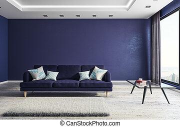 interno, soggiorno, copyspace, comodo