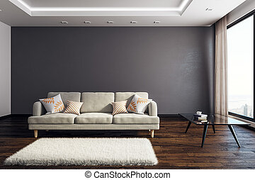 interno, soggiorno, copyspace, contemporaneo