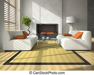interno, soggiorno, moderno, caminetto