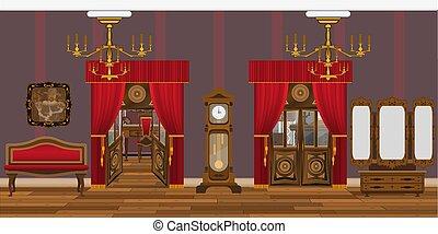 interno, soggiorno, old-style, mobilia