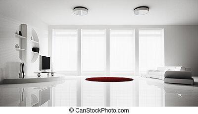 interno, soggiorno, render, 3d