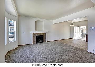 interno, soggiorno, vuoto, casa