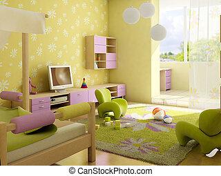 interno, stanza, bambini
