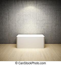 interno, stanza bianca, vuoto, stare in piedi