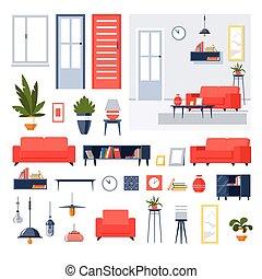 interno, stanza, icone, casa, vivente, isolato, mobilia, disegno