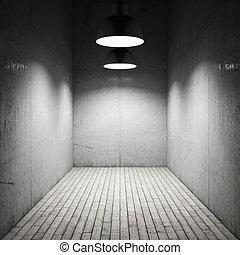 interno, stanza, illuminato, vicino, lampade