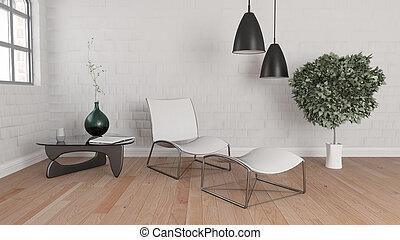interno, stanza moderna, 3d