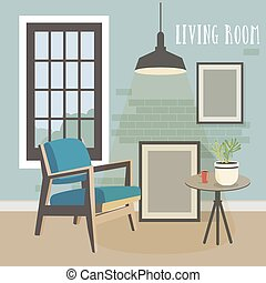 interno, stanza moderna, soffitta, style.