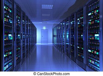 interno, stanza, server