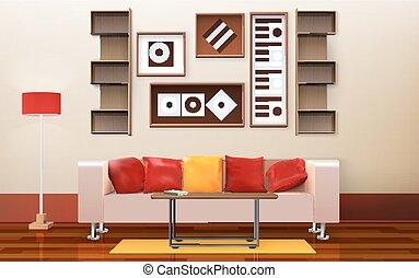 interno, stanza, vivente, disegno