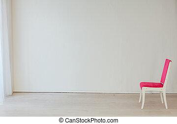 interno, stanza vuota, sedia, rosa, bianco