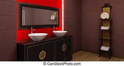 interno, stile, bagno, asiatico
