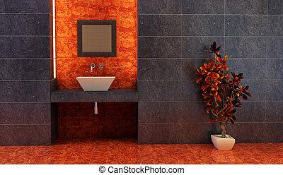 interno, stile, bagno, cinese