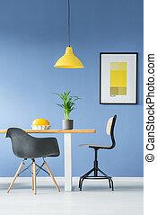 interno, stile, minimo, mobilia