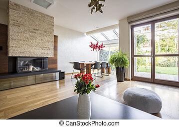 interno, tavola, caminetto, elegante