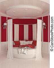 interno, tenda, moderno, rotondo, letto