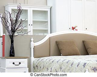 interno, vendemmia, disegno, camera letto