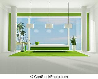 interno, verde bianco