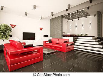 interno, vivente, 3d, stanza, camera letto