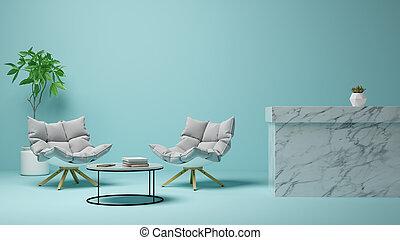 interno, vivente, 3d, stanza, interpretazione, moderno