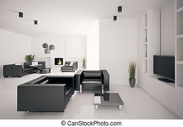interno, vivente, caminetto, stanza, 3d