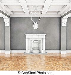 interno, vivente, caminetto, stanza, classico